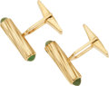 Jewelry, A PAIR OF EMERALD, GOLD CUFF LINKS. The cuff links feature emerald cabochon terminals set in 14k gold. Gross weight 11.20 gr...