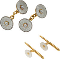 AN ANTIQUE CULTURED PEARL, MOTHER-OF-PEARL, GOLD CUFF LINKS, ENGLISH  The double-sided cuff links each center o
