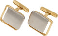 Estate Jewelry:Cufflinks, A PAIR OF GOLD CUFF LINKS. The 10k white and yellow gold cuff linksweigh 24.50 grams.. Dimensions: 3/4 inch x 3/4 inch...