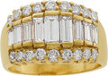 Jewelry, A DIAMOND, GOLD RING. The ring features baguette-cut diamonds weighing a total of approximately 1.00 carat, enhanced by full...