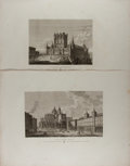 Art:Illustration Art - Mainstream, [Engravings]. Group of Two Steel Engraved Prints. Entrada delAlcazar de Segovia and Vista de la Catedral de...