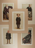 Art:Illustration Art - Mainstream, [Vanity Fair]. Ape and Coïdé. Group of Five SatiricalChromolithographs. Vanity Fair, ca. 1871, 1874. Politicalcaricature...