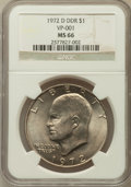 Eisenhower Dollars, 1972-D $1 Double Die Reverse MS66 NGC. VP-001. NGC Census: (306/4). PCGS Population (372/6). Mintage: 92,548,512. Numismedi...
