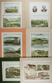 [Californiana]. Artist Unknown. Group of Six Chromolithographic Prints of Southern California. N.d. Pasted to boards