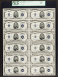 Small Size:Silver Certificates, Fr. 1654 $5 1934D Wide I Silver Certificates. Uncut Sheet of Twelve. PCGS Choice New 63.. ...