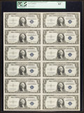 Small Size:Silver Certificates, Fr. 1613W $1 1935D Wide Silver Certificates. Uncut Sheet of Twelve. PCGS Choice New 63.. ...