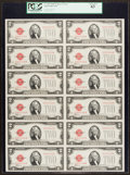 Small Size:Legal Tender Notes, Fr. 1507 $2 1928F Legal Tender Notes. Uncut Sheet of Twelve. PCGS Choice New 63.. ...