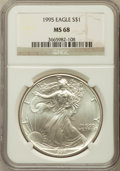Modern Bullion Coins: , 1995 $1 Silver Eagle MS68 NGC. NGC Census: (519/79989). PCGSPopulation (814/4126). Mintage: 4,672,051. Numismedia Wsl. Pri...