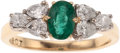 Estate Jewelry:Rings, AN EMERALD, DIAMOND, GOLD RING. The ring centers an oval-shapedemerald weighing approximately 0.40 carat, enhanced by pear-...