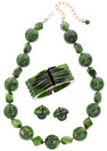 Jewelry, A SUITE OF BLACK & GREEN BAKELITE JEWELRY SUITE. Necklace Length: 21 inches - 24-1/2 inches (adjustable). Bracelet Dim... (Total: 3 Items)