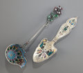 Silver Flatware, American:Gorham, A GORHAM SILVER AND PLIQUE-À-JOUR ENAMEL SPOON TOGETHER WITH ANUNMARKED PLIQUE-À-JOUR . ENAMEL LADLE . Circa 1900. Marks: (...(Total: 2 Items)
