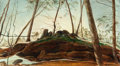 American:Regional, HARRY MCCORMICK (American, b. 1942). Wooded Landscape with Riverand Rocky Knoll. Oil on canvas. 12 x 22-1/2 inches (30....