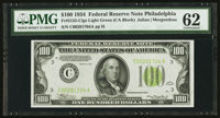 Fr. 2152-C $100 1934 Light Green Seal Federal Reserve Note. PMG Uncirculated 62