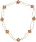 Estate Jewelry:Necklaces, Van Cleef & Arpels Cultured Pearl, Diamond, Pink Tourmaline,Gold Necklace. ...