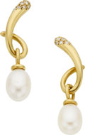 Estate Jewelry:Earrings, Angela Cummings Cultured Pearl, Diamond, 18k Gold Earrings. ...