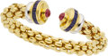 Estate Jewelry:Bracelets, Fope Sapphire, Ruby, Gold Bracelet. ...