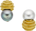 Estate Jewelry:Earrings, Christopher Walling South Sea Cultured Pearl, Diamond, 18k Gold Earrings. ...