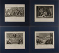 Art:Illustration Art - Mainstream, William Hogarth. Group of Four Engravings. Hudibras. Prints 12 x 9 inches, loosely. Includes Frontispiece, Pla...