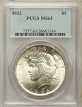 Peace Dollars: , 1922 $1 MS63 PCGS. PCGS Population (53330/47852). NGC Census:(68277/95719). Mintage: 51,737,000. Numismedia Wsl. Price for...