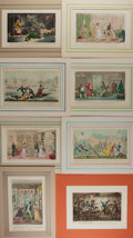 Art:Illustration Art - Mainstream, Isaac Robert Cruikshank. Group of Eight Comical Chromolithographs.N.d. Tipped in and matted. Plates measure 9.75 x 6.25 inc...