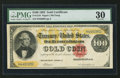 Large Size:Gold Certificates, Fr. 1210 $100 1882 Gold Certificate PMG Very Fine 30.. ...