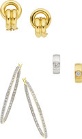 Estate Jewelry:Earrings, A GROUP OF DIAMOND, GOLD EARRINGS. The group includes a pair of 14kgold earrings; a pair of hoop earrings featuring full-cu... (Total:3 Items)