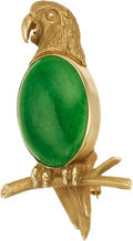 Jewelry, A JADE, GOLD BROOCH. The brooch features a jade cabochon measuring 20.00 x 14.00 mm, set in 14k gold. Gross weight 10.78 gra...