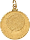 Jewelry, A GOLD COIN PENDANT. The pendant features a 20 Pesos gold coin dated 1959, set in a 10k gold bezel. Gross weight 17.80 grams...