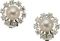 Estate Jewelry:Earrings, A PAIR OF CULTURED PEARL, DIAMOND, WHITE GOLD EARRINGS. Theearrings feature cultured pearls measuring 9.00 - 9.20 mm, enhan...