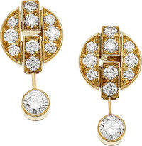 A PAIR OF DIAMOND, GOLD EARRINGS, CARTIER The articulated Himalia earrings feature full-cut diamonds weighing a to