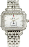 Estate Jewelry:Other , A MICHELE LADY'S DIAMOND DECO STAINLESS STEEL WATCH. The quartzwatch features a 40 x 25 mm rectangular case bezel-set with ...