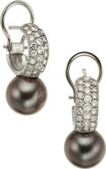Estate Jewelry:Earrings, A PAIR OF CULTURED PEARL, DIAMOND, GOLD EARRINGS. The earringsfeature black Akoya cultured pearls measuring 9.76 - 9.79 mm,...