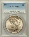 Peace Dollars: , 1925 $1 MS64 PCGS. PCGS Population (17005/8549). NGC Census:(21103/11876). Mintage: 10,198,000. Numismedia Wsl. Price for ...