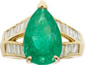 Estate Jewelry:Rings, Cartier Emerald, Diamond, Gold Ring. ...