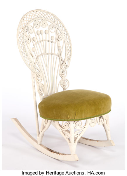 Awesome An American Painted And Upholstered Wicker Rocking Chair In Machost Co Dining Chair Design Ideas Machostcouk