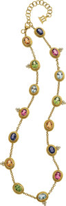 Estate Jewelry:Necklaces, Temple St. Clair Multi-Stone, Diamond, Gold Necklace. ...