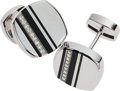 Estate Jewelry:Cufflinks, Chaumet Gentleman's Diamond, Enamel, Stainless Steel Cuff Links....