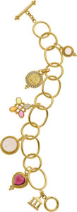 Estate Jewelry:Bracelets, Temple St. Clair Multi-Stone, Diamond, Gold Bracelet. ...