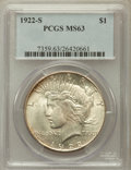 Peace Dollars: , 1922-S $1 MS63 PCGS. PCGS Population (2405/2147). NGC Census:(1755/2054). Mintage: 17,475,000. Numismedia Wsl. Price for p...