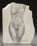 Fine Art - Sculpture, American, PABLO SOLOMON (American, b. 1947). Untitled (nude woman),2004. Pencil on limestone. 11-1/4 x 8-1/2 inches (28.6 x 21.6 ...