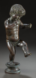 Sculpture, A PATINATED BRONZE STANDING PUTTO PLAYING A WIND INSTRUMENT. 20th century. Marks: FINN WANDAHL, 1929. 11 inches ...