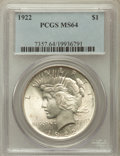 Peace Dollars: , 1922 $1 MS64 PCGS. PCGS Population (41457/6395). NGC Census:(79912/15883). Mintage: 51,737,000. Numismedia Wsl. Price for ...
