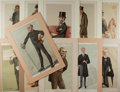 Art:Illustration Art - Mainstream, [Chromolithographs]. Group of Eleven Vanity Fair Caricatures. Ca.1870's, 1880's. Measures 17 x 11 inches, including mat. In...