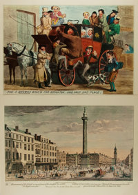 [Chromolithographs]. George Bickham. The Monument of London in Remembrance of the Dreadfull Fire in 1666.</