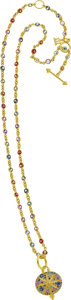 Estate Jewelry:Necklaces, Temple St. Clair Sapphire, Ruby, Gold Necklace. ...