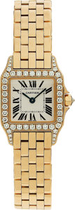 "Estate Jewelry:Watches, Cartier Lady's Diamond, Gold ""Santos Demoiselle"" Wristwatch...."