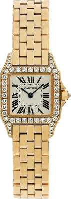 "Cartier Lady's Diamond, Gold ""Santos Demoiselle"" Wristwatch"