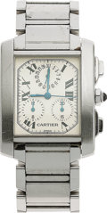 "Estate Jewelry:Watches, Cartier Lady's Stainless Steel ""Tank Française"" ChronographWristwatch. ..."