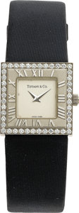"Estate Jewelry:Watches, Tiffany & Co. Swiss Lady's Diamond, White Gold ""Atlas""Wristwatch. ..."