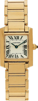 "Cartier Lady's Gold ""Tank Française"" Wristwatch"
